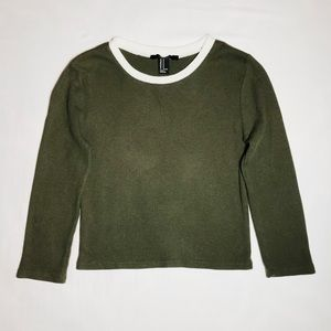 Women's 3/4 Sleeve Olive Green Crop top